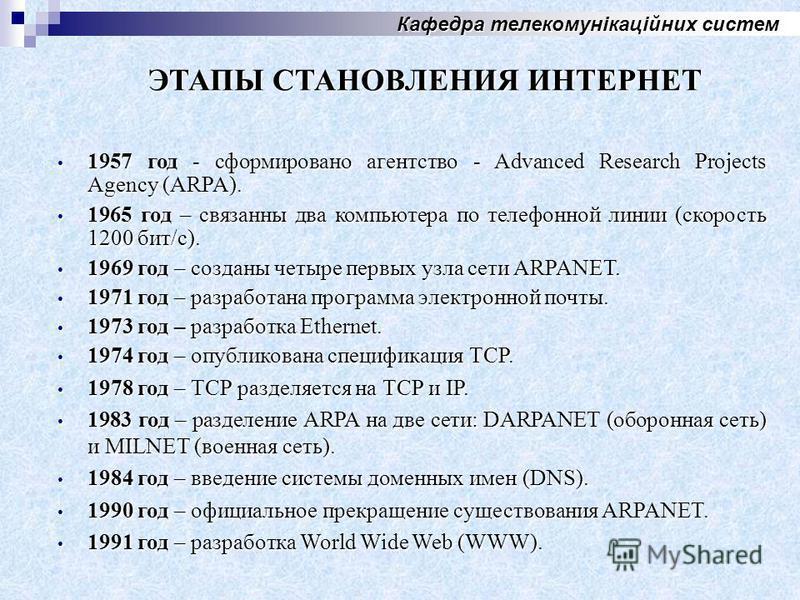 Кафедра телекомунікаційних систем 1957 год - сформировано агентство - Advanced Research Projects Agency (ARPA). 1957 год - сформировано агентство - Advanced Research Projects Agency (ARPA). 1965 год – связанны два компьютера по телефонной линии (скор