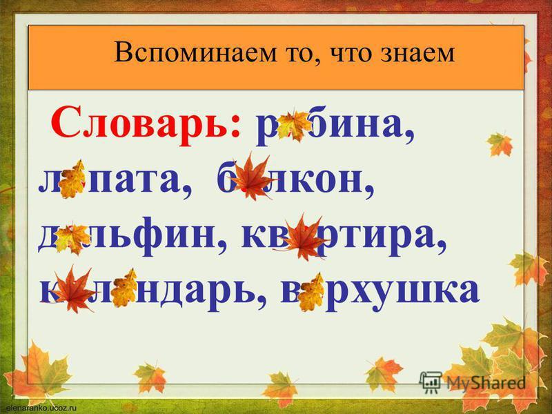 Вспоминаем то, что знаем Словарь: рябина, лопата, балкон, дельфин, квартира, календарь, верхушка