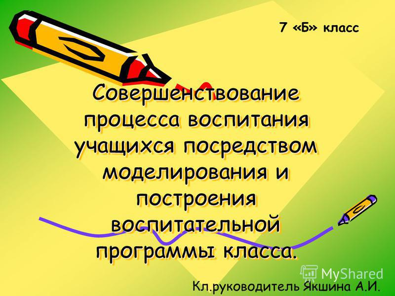 Совершенствование процесса воспитания учащихся посредством моделирования и построения воспитательной программы класса. 7 «Б» класс Кл.руководитель Якшина А.И.
