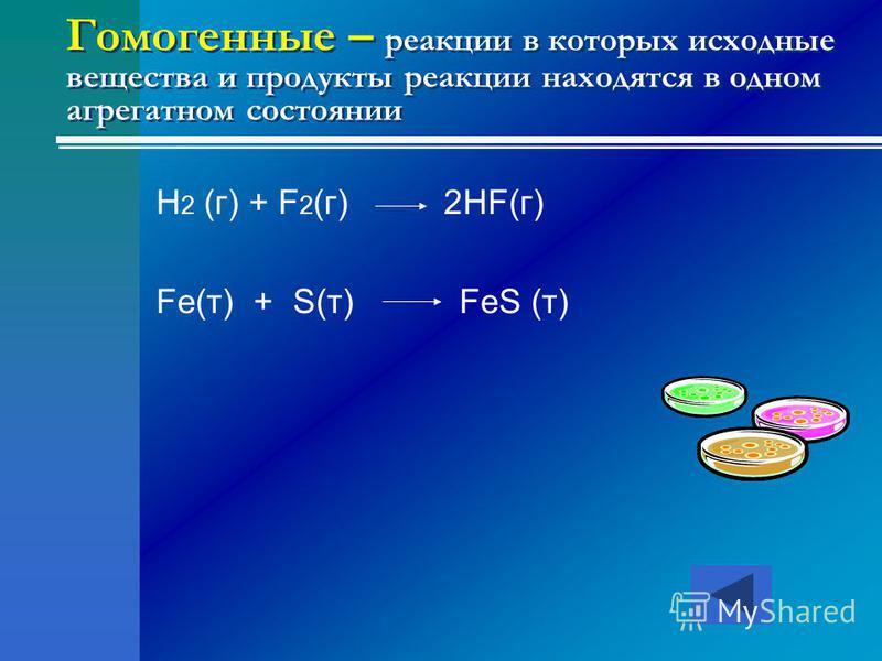 Гомогенные – реакции в которых исходные вещества и продукты реакции находятся в одном агрегатном состоянии H 2 (г) + F 2 (г) 2HF(г) Fe(т) + S(т) FeS (т)