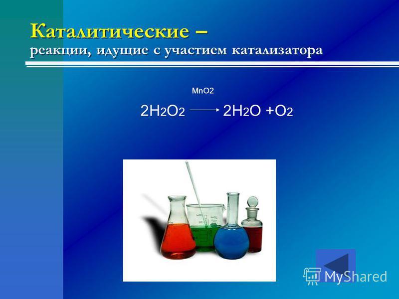 Каталитические – реакции, идущие с участием катализатора MnO2 2H 2 O 2 2H 2 O +O 2