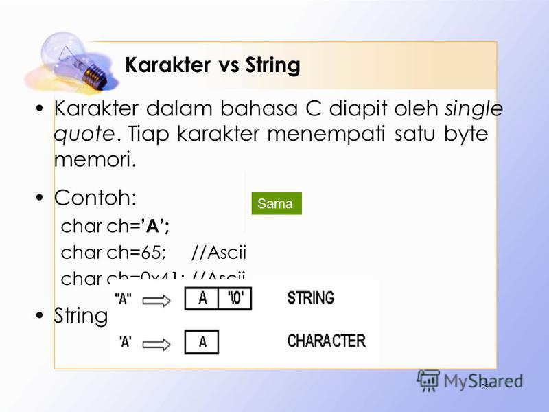 Karakter vs String Karakter dalam bahasa C diapit oleh single quote. Tiap karakter menempati satu byte memori. Contoh: char ch= A; char ch=65; //Ascii char ch=0x41; //Ascii String diapit oeh double quote. 29 Sama