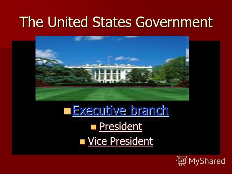 The United States Government Executive branch President Vice President