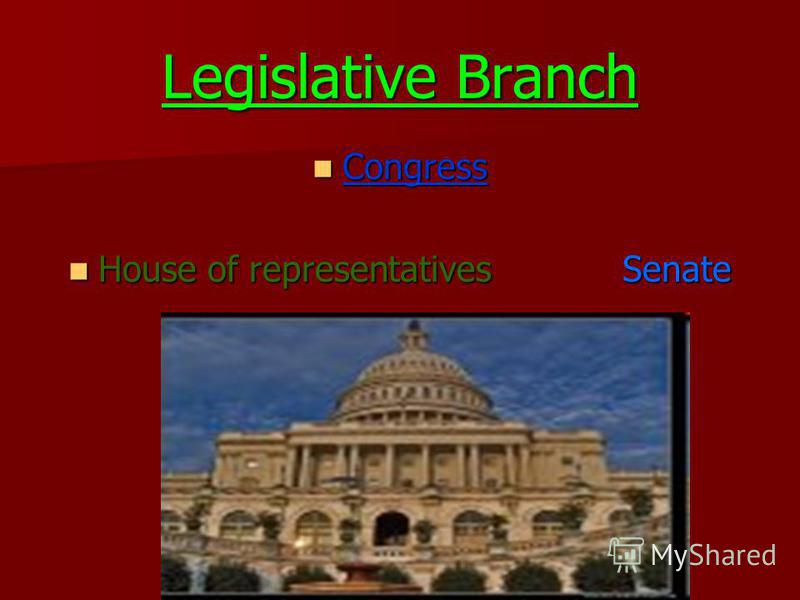 Legislative Branch Congress Congress House of representatives Senate House of representatives Senate