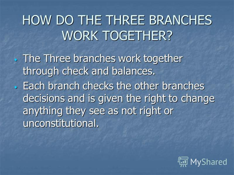 HOW DO THE THREE BRANCHES WORK TOGETHER? The Three branches work together through check and balances. The Three branches work together through check and balances. Each branch checks the other branches decisions and is given the right to change anythi