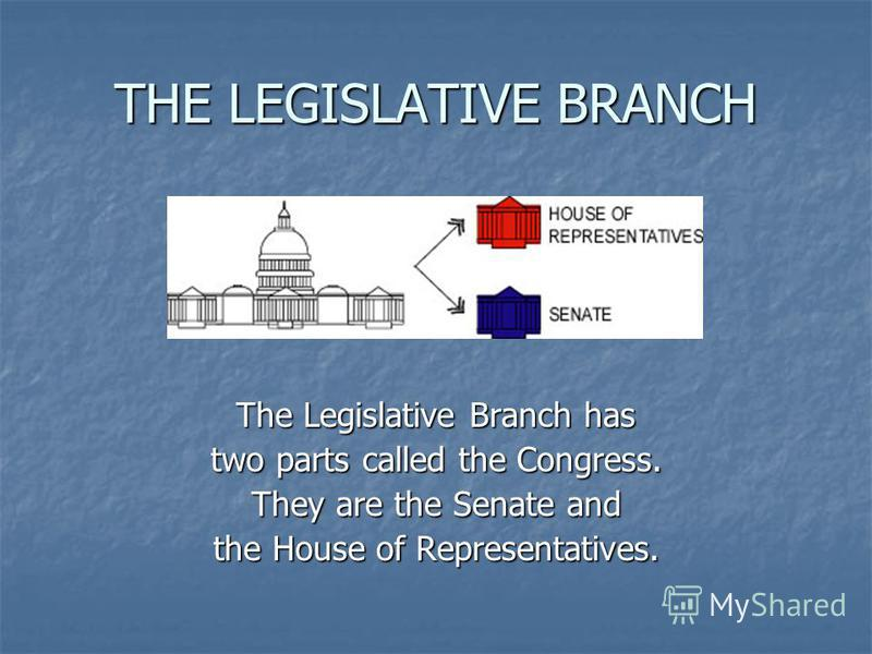 THE LEGISLATIVE BRANCH The Legislative Branch has two parts called the Congress. They are the Senate and the House of Representatives.