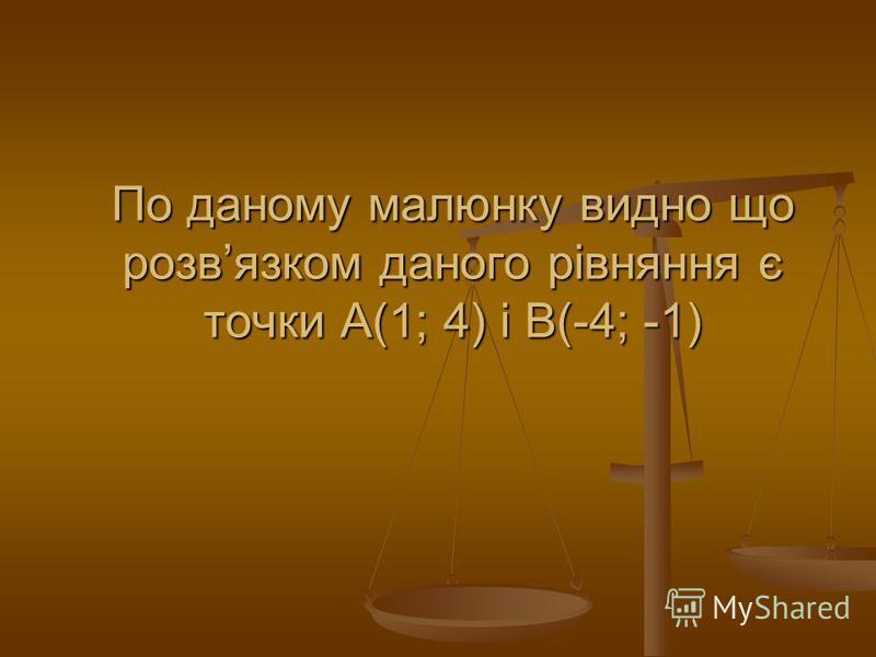 По даному малюнку видно що розвязком даного рівняння є точки А(1; 4) і В(-4; -1)