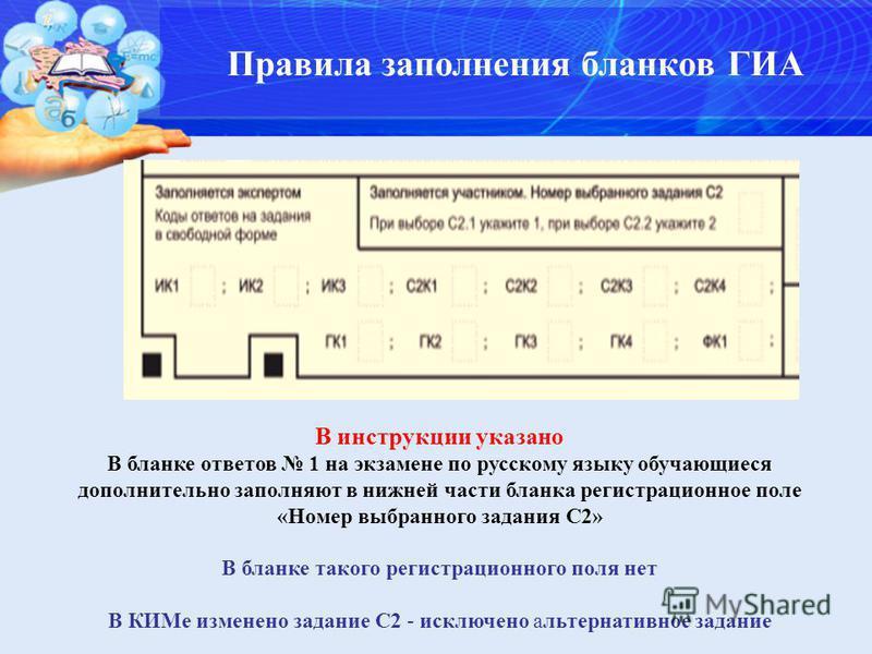 Правила заполнения бланков ГИА В инструкции указано В бланке ответов 1 на экзамене по русскому языку обучающиеся дополнительно заполняют в нижней части бланка регистрационное поле «Номер выбранного задания С2» В бланке такого регистрационного поля не