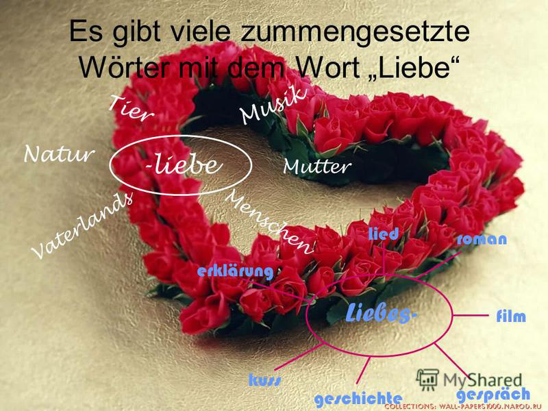 -liebe Natur Mutter Tier Musik Vaterlands Menschen Liebes- kuss geschichte gespräch film roman lied erklärung Es gibt viele zummengesetzte Wörter mit dem Wort Liebe