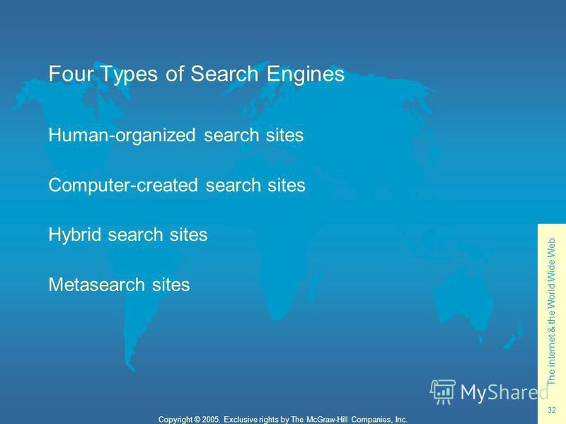 The internet & the World Wide Web 32 Copyright © 2005. Exclusive rights by The McGraw-Hill Companies, Inc. Four Types of Search Engines Human-organized search sites Computer-created search sites Hybrid search sites Metasearch sites