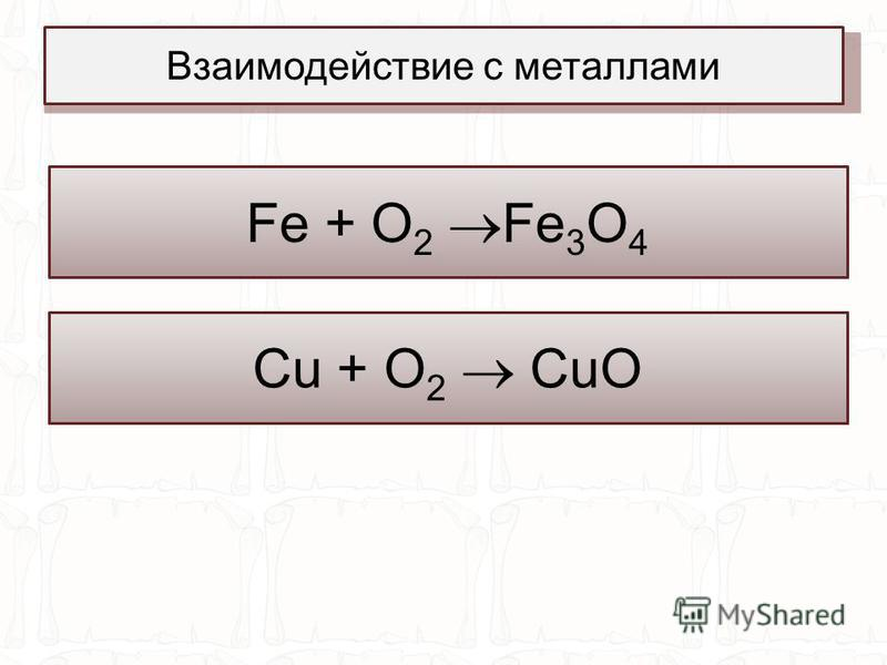 3Fe + 2O 2 = Fe 3 O 4 +Q Fe + O 2 Fe 3 O 4 Взаимодействие с металлами 2Cu + O 2 = CuO Cu + O 2 CuO