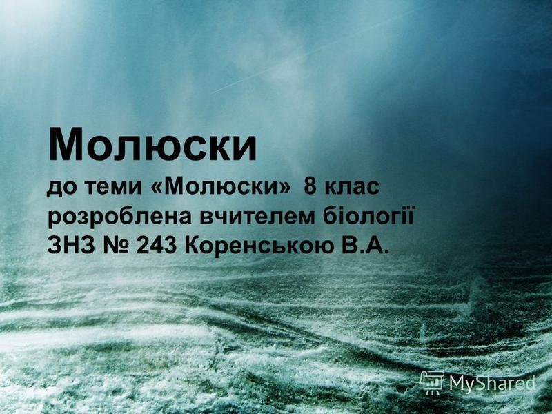 Молюски до теми «Молюски» 8 клас розроблена вчителем біології ЗНЗ 243 Коренською В.А.