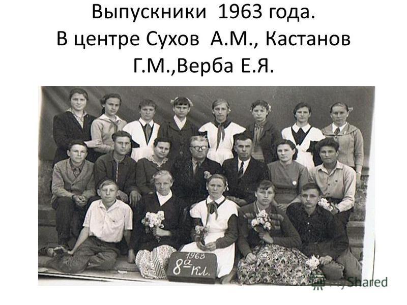 Выпускники 1963 года. В центре Сухов А.М., Кастанов Г.М.,Верба Е.Я.