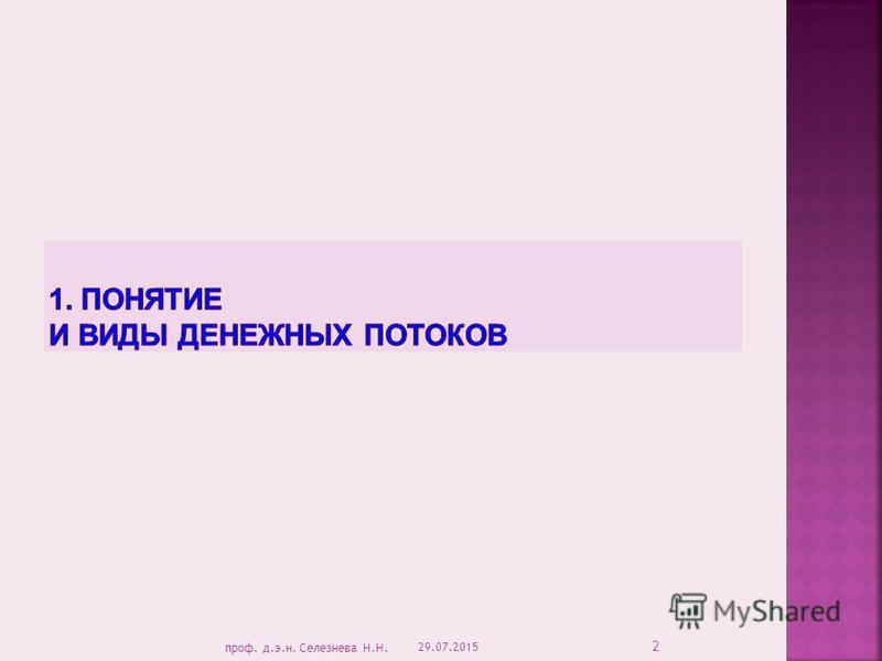 29.07.2015 2 проф. д.э.н. Селезнева Н.Н.