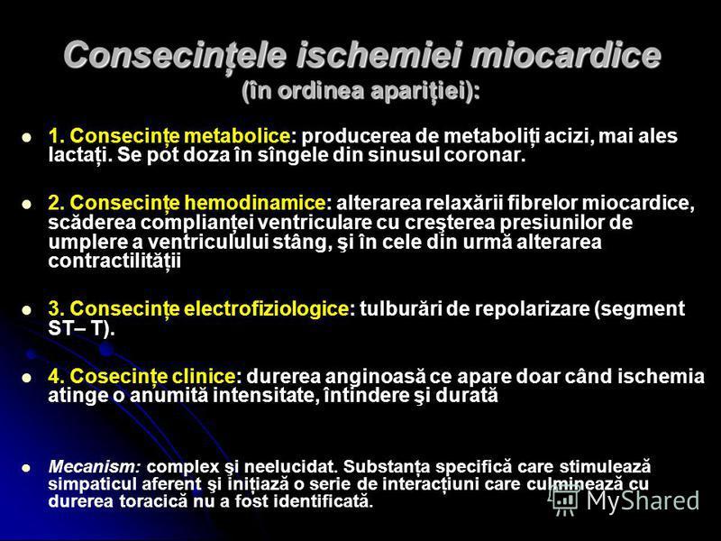 Consecinţele ischemiei miocardice (în ordinea apariţiei): 1. Consecinţe metabolice: producerea de metaboliţi acizi, mai ales lactaţi. Se pot doza în sîngele din sinusul coronar. 2. Consecinţe hemodinamice: alterarea relaxării fibrelor miocardice, scă