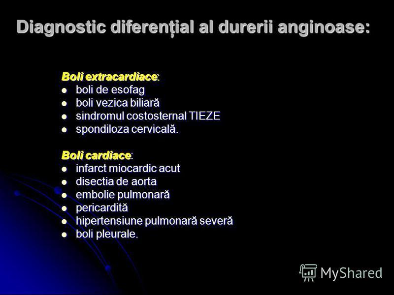 Diagnostic diferenţial al durerii anginoase: Boli extracardiace: boli de esofag boli de esofag boli vezica biliară boli vezica biliară sindromul costosternal TIEZE sindromul costosternal TIEZE spondiloza cervicală. spondiloza cervicală. Boli cardiace