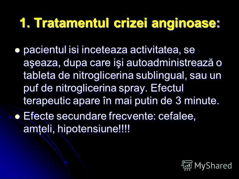 1. Tratamentul crizei anginoase: pacientul isi inceteaza activitatea, se aşeaza, dupa care işi autoadministrează o tableta de nitroglicerina sublingual, sau un puf de nitroglicerina spray. Efectul terapeutic apare în mai putin de 3 minute. pacientul