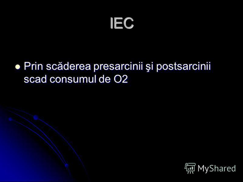 IEC Prin scăderea presarcinii şi postsarcinii scad consumul de O2 Prin scăderea presarcinii şi postsarcinii scad consumul de O2