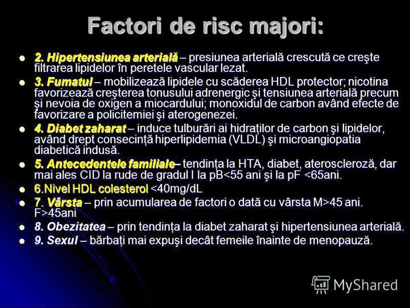 Factori de risc majori: 2. Hipertensiunea arterială – presiunea arterială crescută ce creşte filtrarea lipidelor în peretele vascular lezat. 2. Hipertensiunea arterială – presiunea arterială crescută ce creşte filtrarea lipidelor în peretele vascular