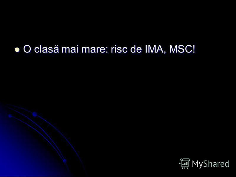 O clasă mai mare: risc de IMA, MSC! O clasă mai mare: risc de IMA, MSC!