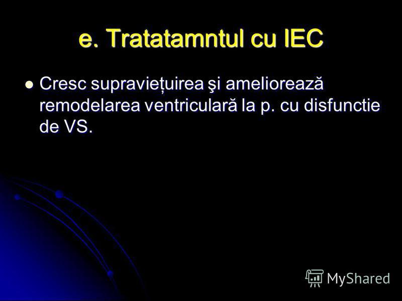 e. Tratatamntul cu IEC Cresc supravieţuirea şi ameliorează remodelarea ventriculară la p. cu disfunctie de VS. Cresc supravieţuirea şi ameliorează remodelarea ventriculară la p. cu disfunctie de VS.