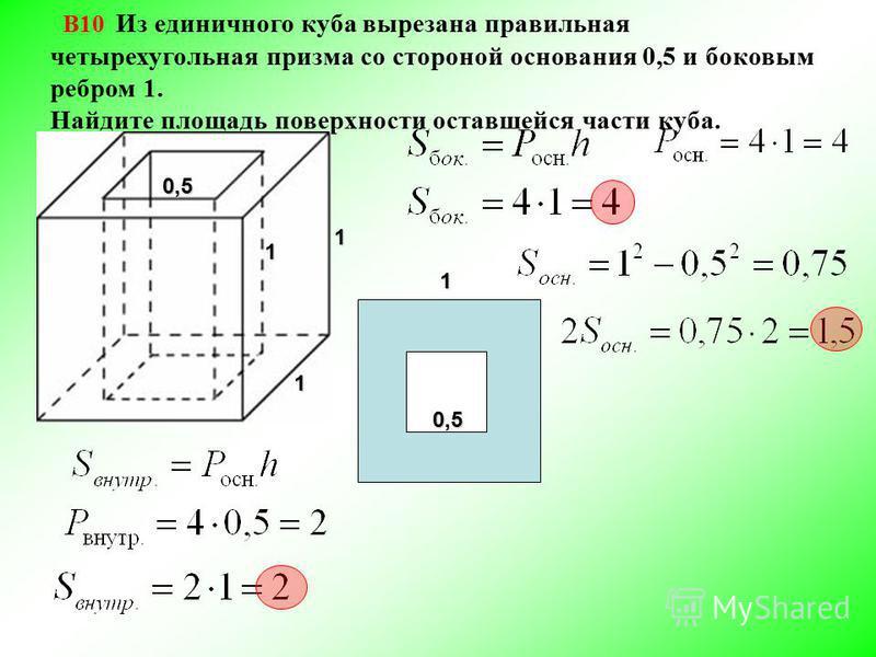 В10 Из единичного куба вырезана правильная четырехугольная призма со стороной основания 0,5 и боковым ребром 1. Найдите площадь поверхности оставшейся части куба.0,5 1 1 110,5
