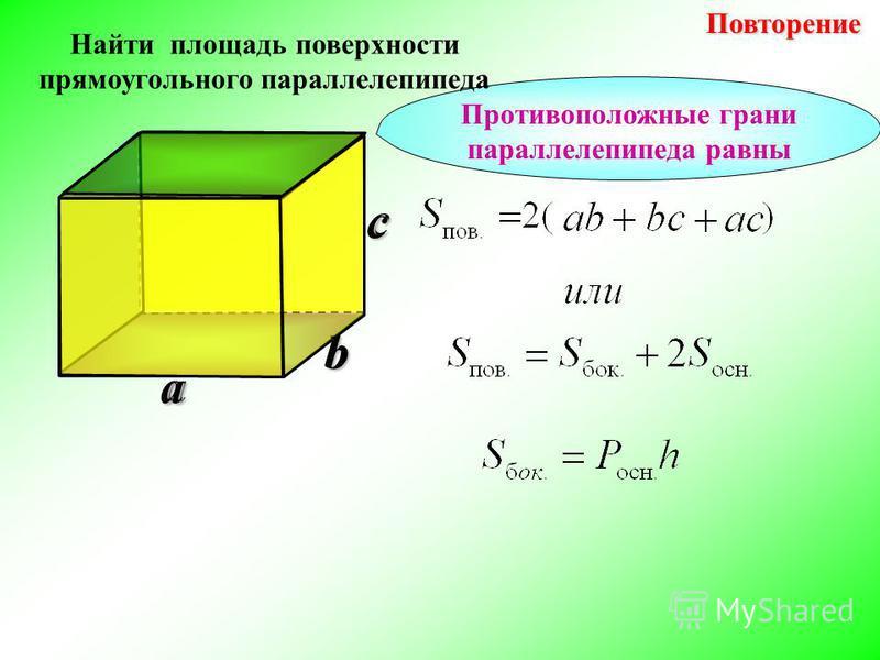 b Повторение Повторениеa c Противоположные грани параллелепипеда равны Найти площадь поверхности прямоугольного параллелепипеда b c a