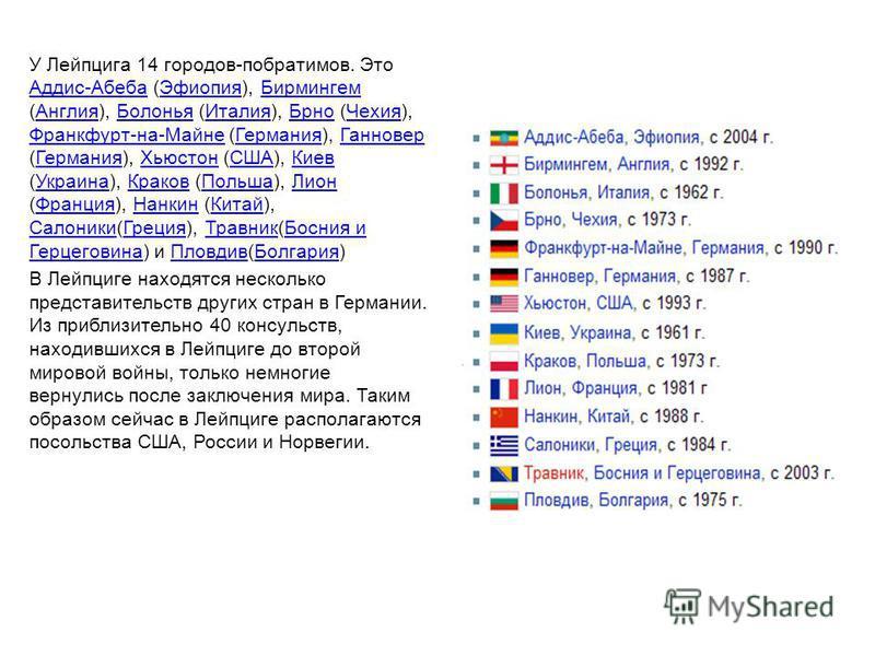 У Лейпцига 14 городов-побратимов. Это Аддис-Абеба (Эфиопия), Бирмингем (Англия), Болонья (Италия), Брно (Чехия), Франкфурт-на-Майне (Германия), Ганновер (Германия), Хьюстон (США), Киев (Украина), Краков (Польша), Лион (Франция), Нанкин (Китай), Салон