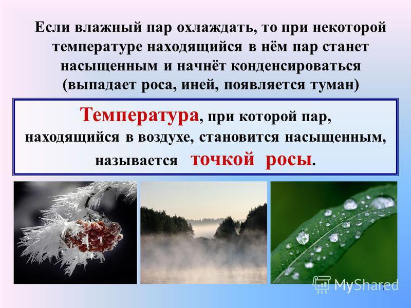 7 Если влажный пар охлаждать, то при некоторой температуре находящийся в нём пар станет насыщенным и начнёт конденсироваться (выпадает роса, иней, появляется туман) Температура, при которой пар, находящийся в воздухе, становится насыщенным, называетс