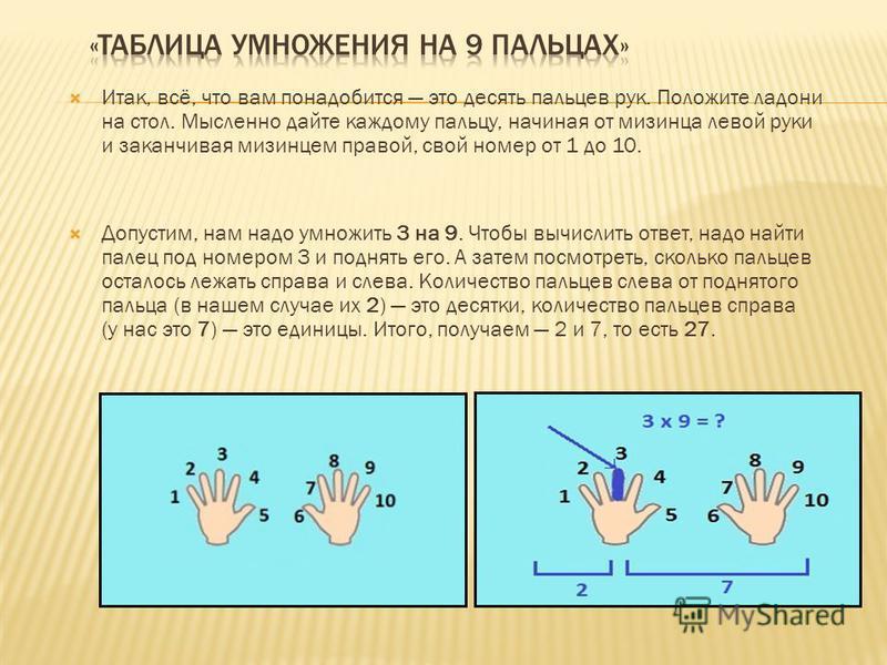 Итак, всё, что вам понадобится это десять пальцев рук. Положите ладони на стол. Мысленно дайте каждому пальцу, начиная от мизинца левой руки и заканчивая мизинцем правой, свой номер от 1 до 10. Допустим, нам надо умножить 3 на 9. Чтобы вычислить отве