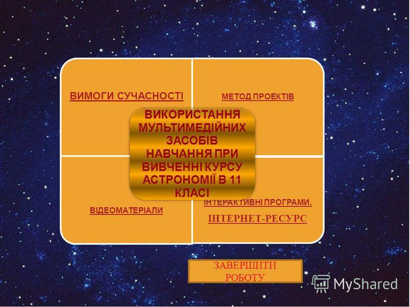 ВИМОГИ СУЧАСНОСТІ МЕТОД ПРОЕКТІВ ВІДЕОМАТЕРІАЛИ ІНТЕРАКТИВНІ ПРОГРАМИ, ІНТЕРНЕТ-РЕСУРС ВИКОРИСТАННЯ МУЛЬТИМЕДІЙНИХ ЗАСОБІВ НАВЧАННЯ ПРИ ВИВЧЕННІ КУРСУ АСТРОНОМІЇ В 11 КЛАСІ ЗАВЕРШИТИ РОБОТУ