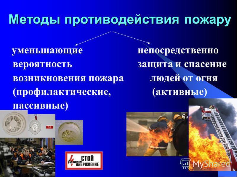 13 Методы противодействия пожару уменьшающие непосредственно вероятность защита и спасение возникновения пожара людей от огня (профилактические, (активные) пассивные)