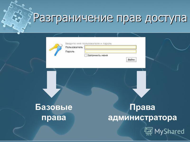 Разграничение прав доступа Базовые права Права администратора