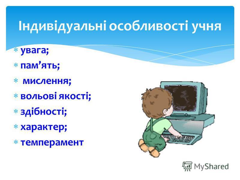 Індивідуальні особливості учня увага; память; мислення; вольові якості; здібності; характер; темперамент