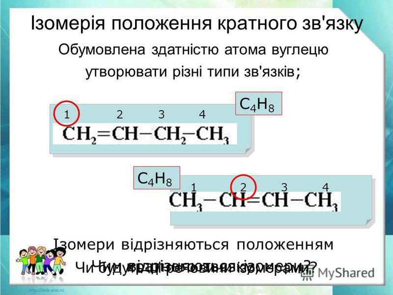 Обумовлена здатністю атома вуглецю утворювати різні типи зв'язків ; Ізомерія положення кратного зв'язку С4Н8С4Н8 С4Н8С4Н8 Чи будуть ці речовини ізомерами ? 1 2 3 4 Чим відрізняються ізомери? Ізомери відрізняються положенням кратного звязку;