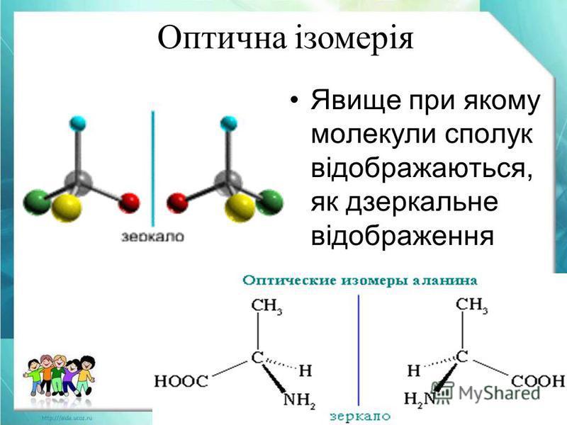 Оптична ізомерія Явище при якому молекули сполук відображаються, як дзеркальне відображення