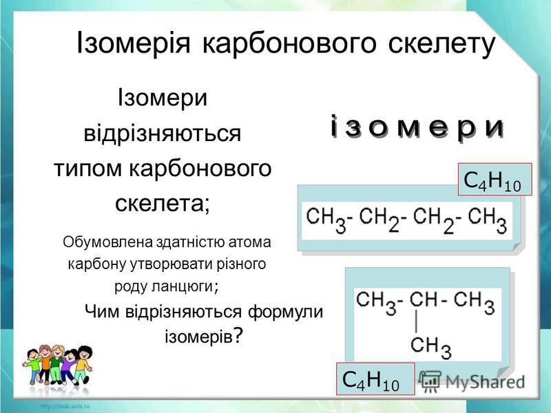 Обумовлена здатністю атома карбону утворювати різного роду ланцюги ; Чим відрізняються формули ізомерів ? Ізомерія карбонового скелету Ізомери відрізняються типом карбонового скелета; С 4 Н 10