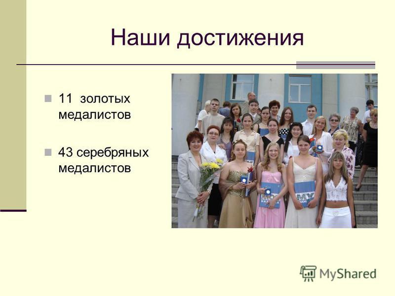 Наши достижения 11 золотых медалистов 43 серебряных медалистов