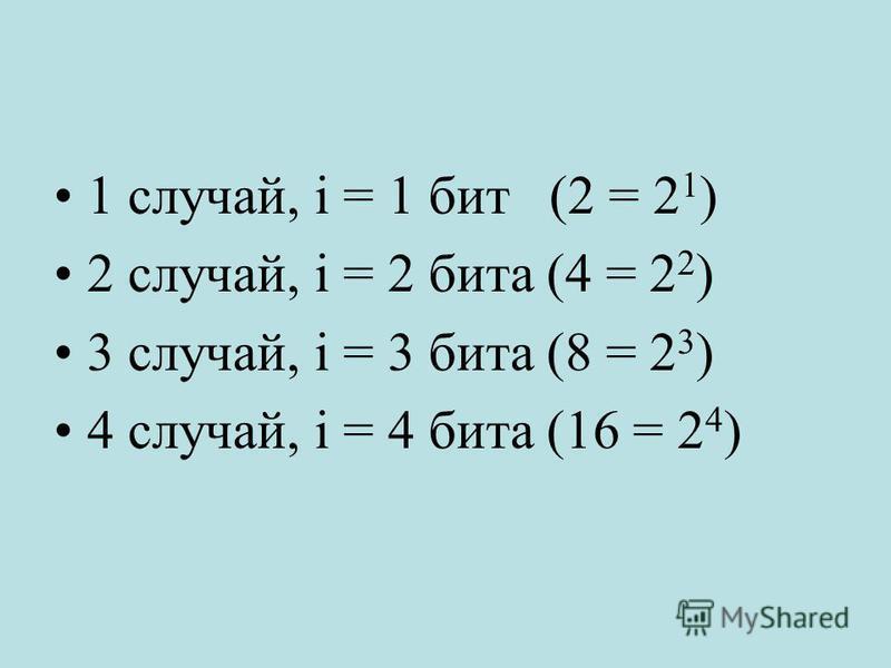 1 случай, i = 1 бит (2 = 2 1 ) 2 случай, i = 2 бита (4 = 2 2 ) 3 случай, i = 3 бита (8 = 2 3 ) 4 случай, i = 4 бита (16 = 2 4 )
