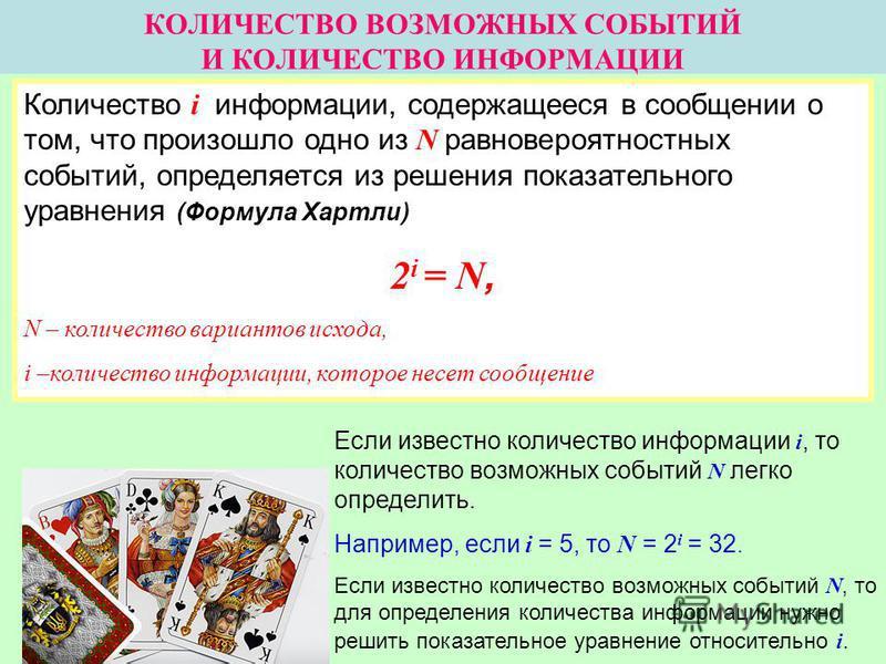 КОЛИЧЕСТВО ВОЗМОЖНЫХ СОБЫТИЙ И КОЛИЧЕСТВО ИНФОРМАЦИИ Количество i информации, содержащееся в сообщении о том, что произошло одно из N равновероятностных событий, определяется из решения показательного уравнения (Формула Хартли) 2 i = N, N – количеств