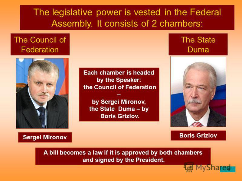 Each chamber is headed by the Speaker: the Council of Federation – by Sergei Mironov, the State Duma – by Boris Grizlov. The legislative power is vested in the Federal Assembly. It consists of 2 chambers: The Council of Federation The State Duma A bi