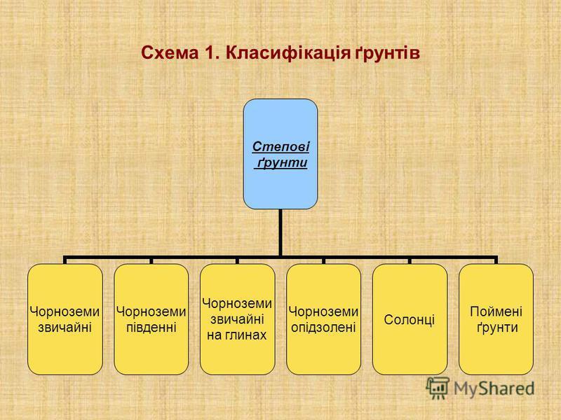Схема 1. Класифікація ґрунтів Степові ґрунти Чорноземи звичайні Чорноземи південні Чорноземи звичайні на глинах Чорноземи опідзолені Солонці Поймені ґрунти