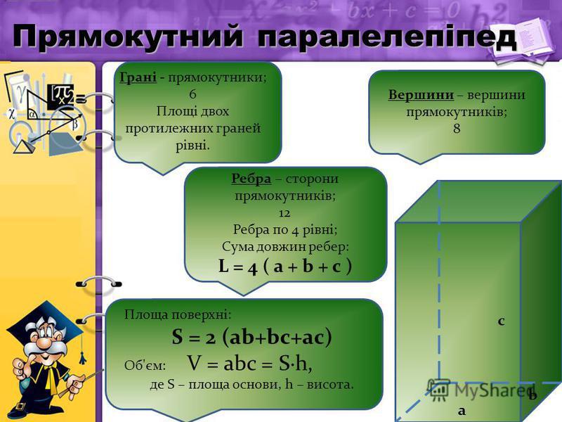a b c Грані - прямокутники; 6 Площі двох протилежних граней рівні. Ребра – сторони прямокутників; 12 Ребра по 4 рівні; Сума довжин ребер: L = 4 ( a + b + c ) Вершини – вершини прямокутників; 8 Площа поверхні: S = 2 (ab+bc+ac) Об'єм: V = abc = S·h, де