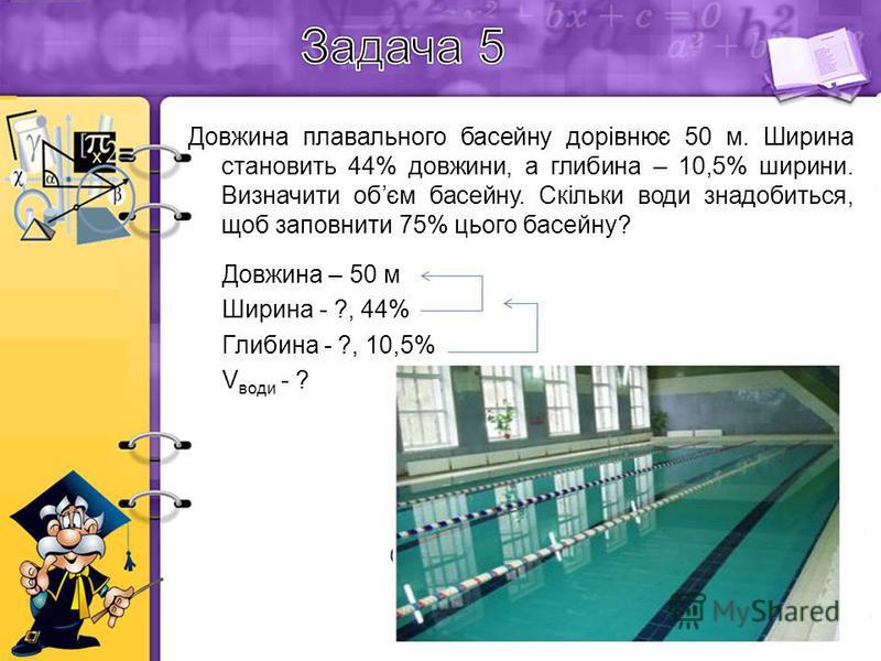 Довжина плавального басейну дорівнює 50 м. Ширина становить 44% довжини, а глибина – 10,5% ширини. Визначити обєм басейну. Скільки води знадобиться, щоб заповнити 75% цього басейну? Довжина – 50 м Ширина - ?, 44% Глибина - ?, 10,5% V води - ? Розв'яз