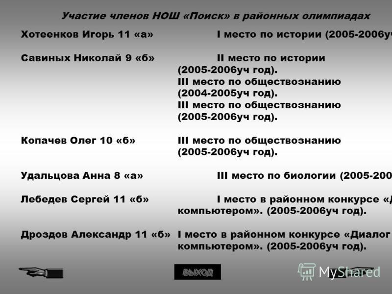 Участие членов НОШ «Поиск» в районных олимпиадах Хотеенков Игорь 11 «а»I место по истории (2005-2006 уч год). Савиных Николай 9 «б»II место по истории (2005-2006 уч год). III место по обществознанию (2004-2005 уч год). III место по обществознанию (20