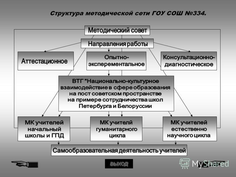Структура методической сети ГОУ СОШ 334.