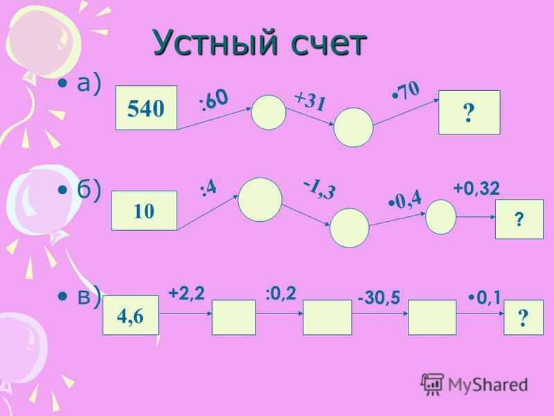 Устный счет а) б) в) 540 ? 10 ? 4,6 ? :60 +31 70 :4 -1,3 0,4 +0,32 +2,2:0,2 -30,50,1