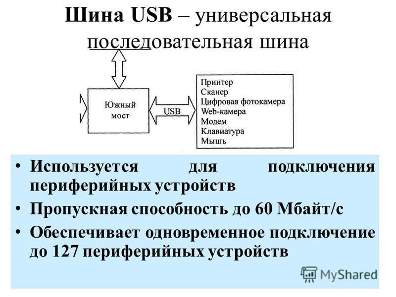 Шина USB – универсальная последовательная шина Используется для подключения периферийных устройств Пропускная способность до 60 Мбайт/с Обеспечивает одновременное подключение до 127 периферийных устройств
