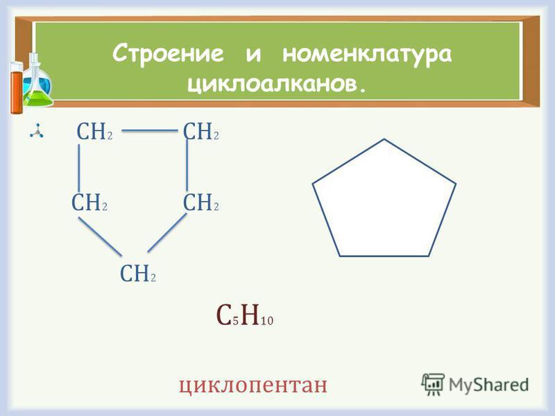 Строение и номенклатура циклоалканов. СН 2 СН 2 СН 2 С 5 Н 10 циклопентан