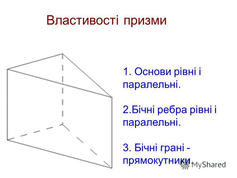 1. Основи рівні і паралельні. 2.Бічні ребра рівні і паралельні. 3. Бічні грані - прямокутники. Властивості призми